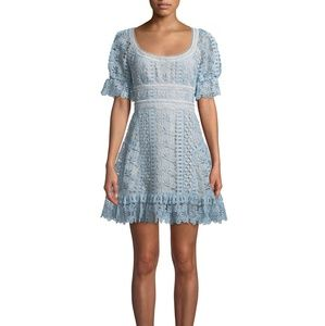 Self Portrait Blue GuiPure Lace Mini Dress